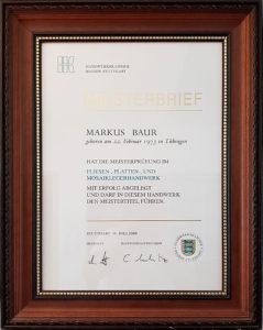 Meisterbrief Markus Baur